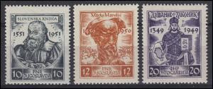 Jugoslawien 668-670 Schriftsteller im Mittelalter 1951, 3 Werte, Satz **