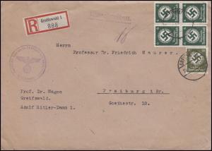 135 +141 Dienstmarken 6 Pf. Viererblock + 30 Pf. R-Brief Uni GREIFSWALD 22.8.42