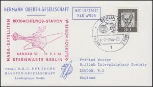 Hermann-Oberth-Gesellschaft 354y Kant mit Lochung DRG EF PK SSt BERLIN 2.2.64