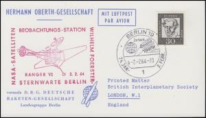 Hermann-Oberth-Gesellschaft 354 Kant mit Lochung DRG Karte SSt BERLIN 2.2.64
