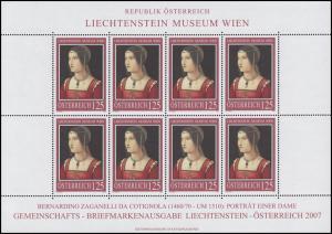 2641 Liechtenstein-Museum Wien 2007 - kompletter Kleinbogen, postfrisch