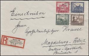 446-449 Herzstück aus Bl.1 auf Brief Sonder-R-Zettel IPOSTA SSt BERLIN 14.9.30