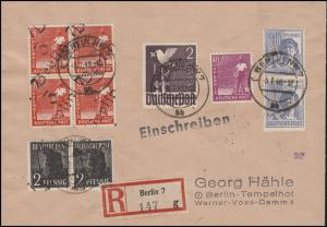 166 Paar +168 Vbl Bezirkshandstempel Berlin Orts-R-Bf BERLIN 5.7.48, signiert