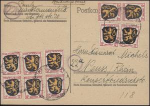6 Wappen 12 Pf 10x 12 Pf. Zehnfachfrankatur Postkarte SSt MÜNSTERMAIFELD 21.6.48