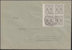 2x AM-Post 4 Pf. Rand-Viererblock MeF Orts-Bf. STUTTGART-UNTERTÜRKHEIM 12.4.46