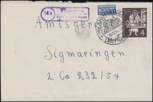 198 Gutenberg 5x4 Pf MeF Orts-Bf. Landpost Vilsingen SSt SIGMARINGEN 30.11.54