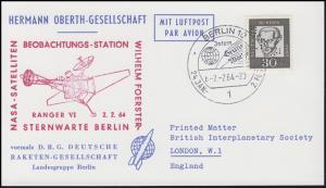 Hermann-Oberth-Gesellschaft 354y mit Lochung DRG,  EF Karte SSt BERLIN 2.2.1964