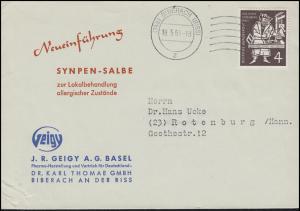 198 Gutenberg-Bibel EF Drucksache Synpen-Salbe BIBERACH 19.5.54 nach Rotenburg
