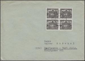 42 Berliner Bauten 4x1 Pf Viererbl. MeF Drucksache PASSAU 25.10.50 n. Kaufbeuren