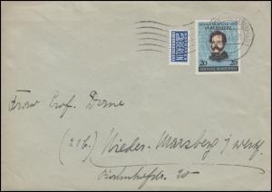 155 Carl Schurz mit Notopfer als EF auf Brief WUPPERTAL-ELBERFELD 4.2.53