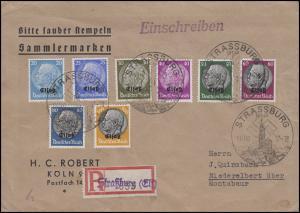 Elsaß 9-16 Hindenburg mt Aufdruck 20 bis 100 Pf MiF R-Bf SSt STRASSBURG 19.11.40