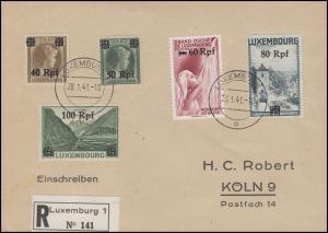 Luxemburg 28-32 Freimarken 40 bis 100 RPf, 5 Werte, auf R-Bf. LUXEMBURG 28.1.41