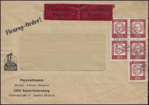 352y Johann Sebastian Bach 5x 20 Pf mit Vbl MeF Fleurop-Eil-Brief ESSEN 19.10.64
