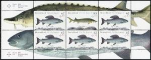 HBl. 49 Fische als Zusammendruck UNGEFALTET mit 6 Marken, ** postfrisch
