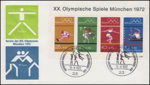 Block 6 Olympaide München 1972 auf Schmuck-FDC ESSt Kiel Basketball 18.8.1972