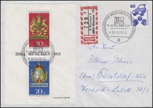 Block 9 IBRA 1973 MiF R-Brief Sonder-R-Zettel IBRA MÜNCHEN' SSt MÜNCHEN 14.5.73