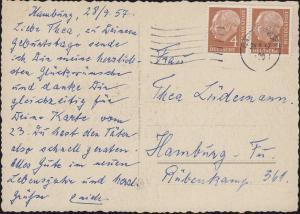 178x Heuss 4 Pf. im Paar als MeF auf Orts-Geburtstagskarte HAMBURG 28.9.57