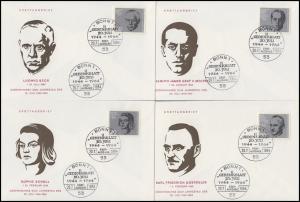 431-438 Einzelmarken aus Bl. 3 Attentat 1944 auf 8 Schmuck-FDC ESSt BONN 20.7.64