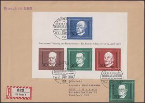 Block 4 Konrad Adenauer 1968 mit 555 MiF auf R-FDC ESSt BONN 19.4.68 nach Dülken