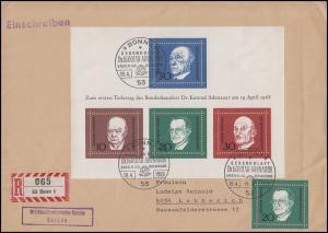 Block 4 Konrad Adenauer 1968 mit 555 MiF R-FDC ESSt BONN 19.4.68 nach Lobberich