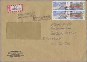 1872+1873 Boddenlandschaft-ZD 2x 200+300 Pf R-Bf + Rückschein MÜHLANGER 13.11.96
