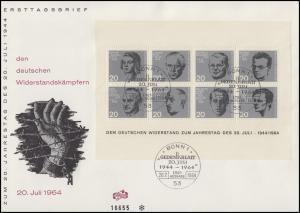 Block 3 Attentat 20.Juli 1944 auf FIDACOS-Schmuck-FDC ESSt Bonn 20.7.1964