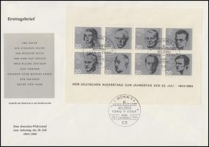 Block 3 Attentat 20.Juli 1944 auf einem Schmuck-FDC ESSt Bonn 20.7.1964
