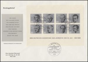 Block 3 Attentat 20.Juli 1944 auf einem Schmuck-FDC ESSt Bonn 20.7.64