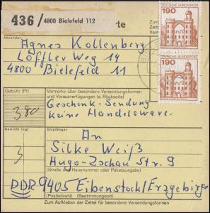 919 BuS 2x 190 Pf. MeF Paketkarte BIELEFELD 3.3..80 nach Eibenstock / DDR