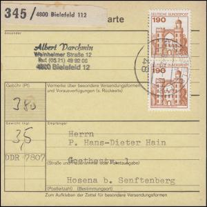 919 BuS 2x 190 Pf. MeF auf Paketkarte BIELEFELD 18.2..80 nach Hosena in die DDR