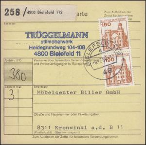 919 BuS 2x 190 Pf. MeF auf Paketkarte BIELEFELD 8.2..80 nach Kronwinkel