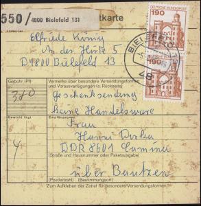 919 BuS 2x 190 Pf. MeF auf Paketkarte BIELEFELD 5.8..80 nach Bautzen in die DDR