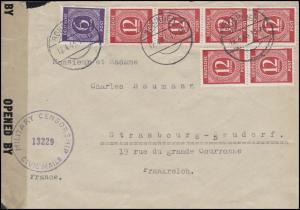 Zensurpost 916 Ziffer 6 Pf + 919 Ziffer 6x12 Pf MiF Auslands-Bf BOBINGEN 12.4.46