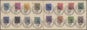 SSt EXPORT-SCHAU München 28.8.46 auf 2 Erinnerungskarten mit 2x 8 Ziffern-Werten