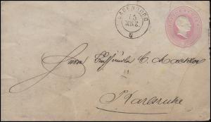 Baden Umschlag U 12 Großherzog Friedrich 3 Kr. LADENBURG 15.3. nach Karlsruhe