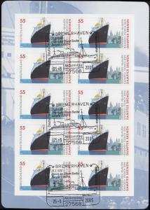 2417 Blaues Band BREMEN: linke Seite vom MH 56 mit SSt BREMERHAVEN 25.3.2005