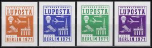 Vignetten-Satz LUPOST BERLIN 1971: orange, blau, grün, lila (4 Stück)