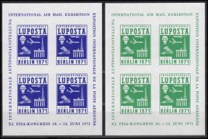 Vignetten-Kleinbogen-Satz LUPOSTA BERLIN 1971 orange, blau, grün, lila (4 Stück)