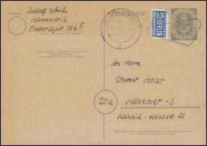 Postkarte P 11/II Posthorn 8 Pf mit Notopfer HANNOVER Industriemesse 21.4.54