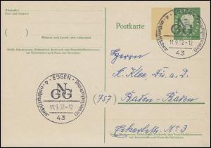 Postkarte P 43I Heuss 10 Pf Beidruck 15x22 mm SSt ESSEN Gewerkschaftstag 11.9.62