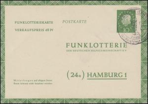 Funklotterie-Postkarte FP 7a Heuss mit SSt WARSTEIN Warsteiner Pilsner 16.4.61