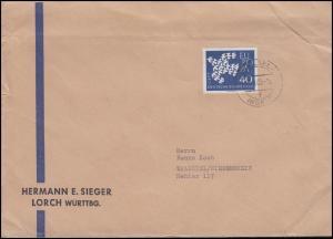 368x Europa / CEPT 40 Pf. EF auf Brief LORCH 13.3.62 nach Waldniel/Niederrhein