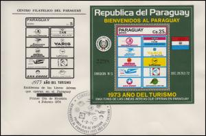 Paraguay Touristikblock Fluggesellschaften Year of tourism Air labels FDC 4.2.74