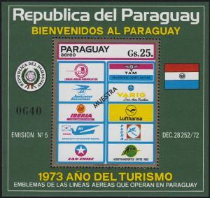 Paraguay Tourisik-Block Fluggesellschaften 1974 mit Aufdruck MUESTRA / MUSTER