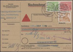 43+47+49 Berliner Bauten 4+10+20 Pf MiF Nachnahmekarte BERLIN-HALENSEE 27..3.52
