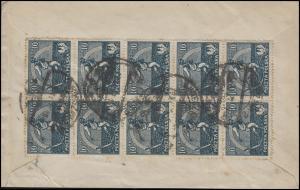 Polen 158 Sämann 10x 10 M. als 10er-Block MeF Bf. WARSCHAU 19.11.22 n. Wiesbaden