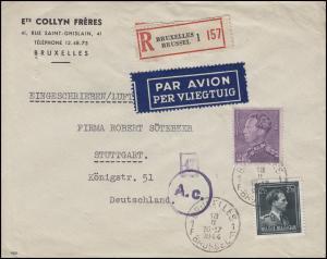Belgien 427+567 König Leopold MiF Lp.-R-Brief BRÜSSEL 18.2.44 nach Stuttgart