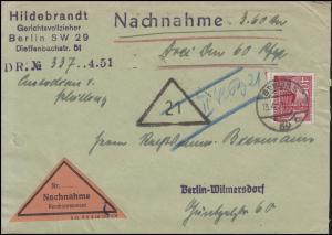 52 Berliner Bauten 40 Pf. EF Orts-Nachnahme-Bf Gerichtsvollzieher BERLIN 13.4.51