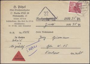 52 Berliner Bauten 40 Pf. EF Orts-Nachnahme-Bf Gerichtsvollzieher BERLIN 14.8.52