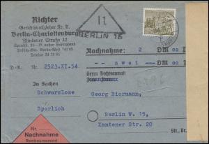 53 Berliner Bauten 50 Pf. EF Orts-Nachnahme-Bf Gerichtsvollzieher BERLIN 11/54
